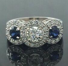 Engagement Ring 14K White Gold Over 3 Stone 2.25 Ct Round Diamond Sapphire Halo