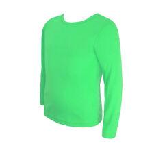 Kids Plain Basic Top Long Sleeve Girls Boys T-Shirt Tops Crew Uniform