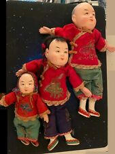 3 ANTIQUE CHINESE ASIAN DOLL HANDMADE COMPOSITION DOLLS FAMILY MAN WOMAN CHILD