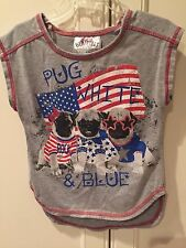 Beautees Top Girls Size 5 Shirt Pug Red White and Blue Patriotic Flag Puppies