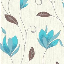 NEW Teal / Silver Glitte r- M0779 -Synergy Floral Textured Vymura Wallpaper