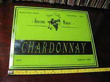 HERITAGE  WINERY  CHARDONNARY GLASS MIRROR SIGN 1974  8''x11'' VERY NICE !!