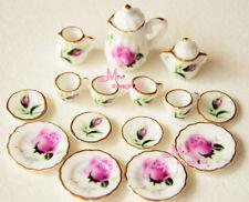 Lot of 15 Rosebud Porcelain Dollhouse Miniature Coffee Tea Cup Set DC96