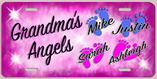 GRANDMA'S ANGELS LICENSE PLATE WITH KIDS NAMES, PERSONALIZED MADE IN USA