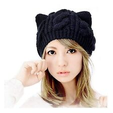 Women's Warm Cat Ear Crochet Knit Braid Ski Hat Winter Devil Horn Beanie Cap BLK