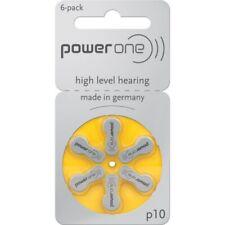 6 PowerOne Hearing Aid Batteries 1.45V Size 10 P10 PR70 Super Fresh