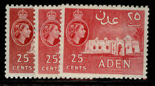 More details for aden qeii sg54 + 55 + 55a, 25c shade varieites, m mint. cat £32.