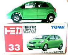 TOMICA #33 TAKARA TOMY TOYOTA VITZ GREEN 2005 1/59 SCALE DIE CAST METAL TOY