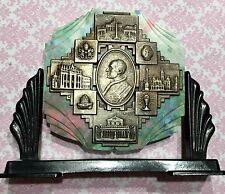 Vtg 50's CDF Milano Pope Pius XII Silver Confetti Lucite Table Top Plaque-Estate