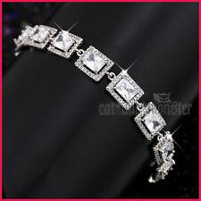 18K WHITE GOLD GF VINTAGE PRINCESS SQUARE CT LAB DIAMOND WEDDING BANGLE BRACELET