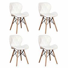 4er Set Esszimmerstuhl Lederoptik Küchenstuhl Wohnzimmerstuhl mit Holzfüßen Weiß