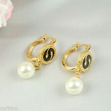 E5 Prom Party Wedding Gold Plated Enamel Swirl Huggie Hoop Pearl Earrings