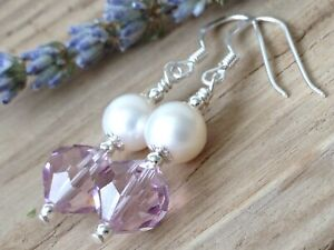 Vintage Lilac Faceted Crystals & White FW Pearls Sterling Silver Earrings