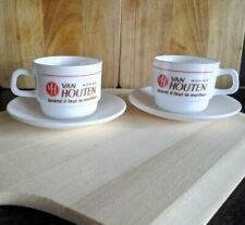 Pair of Van Houten Arcopal France Restaurant Cup and Saucers, Vintage Style, New
