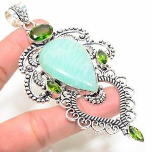 "Aquamarine, Peridot Handmade Ethnic Style Jewelry Pendant 3.94 "" LL"