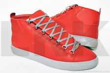 $635 Balenciaga Arena Red Grey High-Top Mens EU 45 US 12 Shoes Sneakers