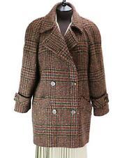 TRUE VINTAGE Womens Irish Wool Tweed Check Short Coat Retro Jacket - UK 16