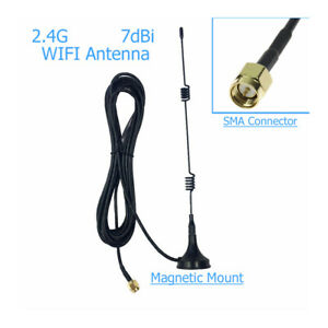 1PC Wifi WLAN 5 X Range Booster SMA 2.4GHz 7DBI Wireless Antenna Extender + Base