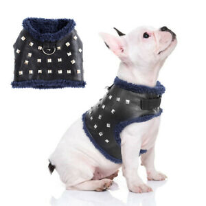 Rivets Studded Leather Puppy Pet Dog Harness Warm Fleece Vest XXS XS S Black