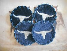 WESTERN COWHIDE COASTERS LONGHORN DESIGN WESTERN HOME TRAILER  OFFICE DECOR 40