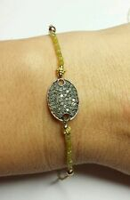 Genuine 2ct canary yellow Diamond pave silver oval tag 14k gold bracelet