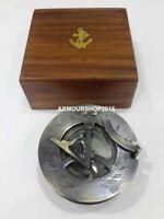 Nautical Two Tone Antique Sundial Compass With Original Anchor Box