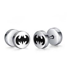 TT Silver/Black 8mm Surgical Steel Batman Round Earrings (BE264) NEW