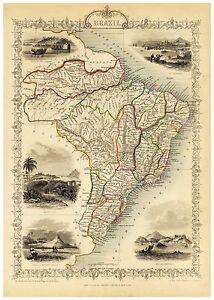 Old Vintage Map of Brazil richly illustrated Tallis 1851