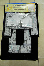 15PCS PARIS BLACK BATHROOM BATH MATS SET RUG CARPET SHOWER CURTAIN FABRIC HOOKS