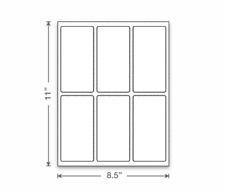 """3 Sheets (18 Labels) 2.5"""" x 5"""" Inch Rectangular Label Stickers White Matte"""