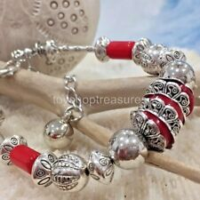 New Vintage Silver Bracelet & Red Coral Bead Bracelet Extension Chain