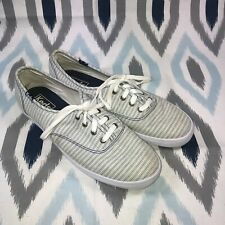 Keds Size 7 Women's Blue & White Striped Lace-Up Sneakers Fashion Cushion Soft