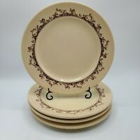 Set of 4 Vintage Mayer China Restaurant Ware Curtis Pattern Luncheon Plates 9""