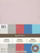 "New Recollections 8.5x11"" Cardstock Paper Nautical Red, Grey, Blue 50 Sheets"
