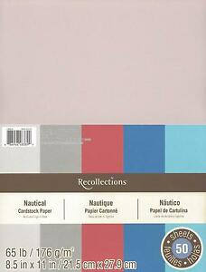"""New Recollections 8.5x11"""" Cardstock Paper Nautical Red, Grey, Blue 50 Sheets"""