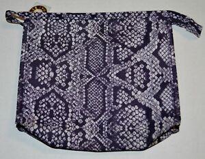 ESTEE LAUREN NEW Blue Snakeskin Print Zipped Make Up Travel Size Bag Lined