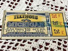 Vintage University of Michigan Football vs. Illinois (1930) Ticket Stub