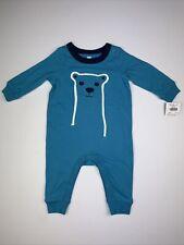 Baby boy 6-9 Months Tea Collection Blue Furry Friend Romper NWT