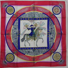 "Auth HERMES ""Feux d'Artifice"" by Michel Duchene Red Silk Scarf 4112"