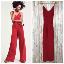 NWT Jill Stuart 2 Red Flowy V Neck Wide Leg Belted Jumpsuit Pants $318 BHLDN