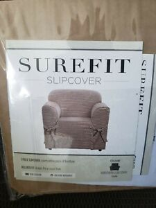 Sure Fit Horizontal Club Stripe 1-Piece - Chair Slipcover - Tan Box Cushion NIB