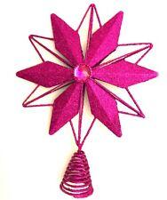 Bright Pink Glitter Star Tree Topper Jewel Metal Colorful Snowflake Rhinestone