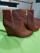 💕💕💕MIMCO LEATHER COGNAC BROWN BOOTS HEELS SHOES 41 Or 10 RRP $299 NEW💟💟💟
