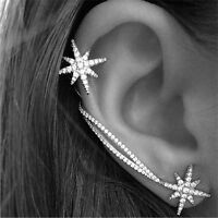 1 Pair Crystal Star Ear Cuff Rhinestone Ear Clip Metal Stud Earring Jewelry JR