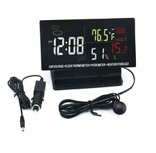 Car Digital Clock Alarm Thermometer Hygrometer Voltage Weather Forecast Gauge
