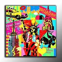 QUADRO MODERNO Brooklyn New York pop art astratto dipinto a mano MANHATTAN TAXI