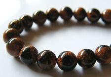 50pcs 8mm Round Created Gemstone Beads - Brown/Blue Goldstone