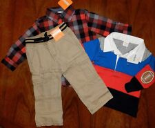 Pants Set 3pc Gymboree Plaid Shirt Khaki Cargo Polo Boy sz 12-18 month New