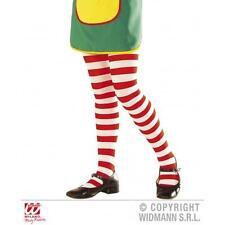 Childrens Red & White Striped Tights Umpa Lumpa Rag Doll Fancy Dress 4-6 Yrs