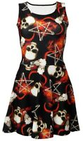 Occult Pentagram Bone Skull Horned Ram Fire Flame Alternative Skater Dress Goth